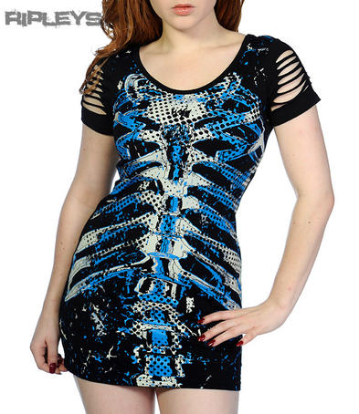 BANNED Goth MINI DRESS T Shirt Top BLUE RIBS Skeleton Slash Goth All Sizes